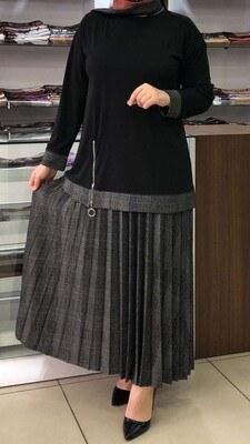- Bluzu Fermuar Detaylı Eteği Ekoseli Takım Siyah/4016