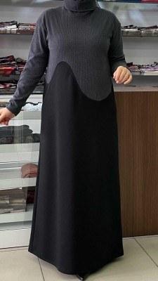 - Boğazlı Elbise Siyah - Küf Yeşili / 4264