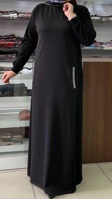 - Cepleri Ribana Detaylı Elbise Siyah / 4229