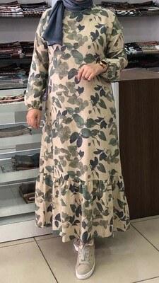 - Desenli Kolları Lastikli Elbise Bej-Yeşil/2385