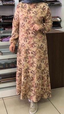 - Desenli Kolları Lastikli Elbise Bej-Pudra/2385