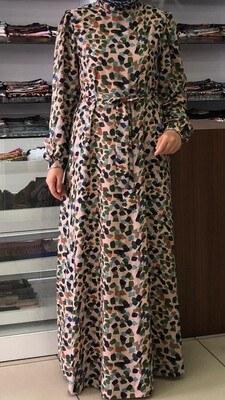 - Dijital Baskı Detaylı Renkli Elbise / 3281