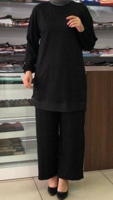 - Eteği Organze Tül Detaylı Takım Siyah / 4698