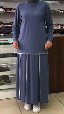 - Eteği Şerit Detaylı Takım Mavi /4701