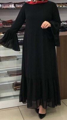 - Etek Ucu ve Kolu Fırfır Detaylı Elbise Siyah/7633