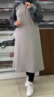 - Fermuar Detaylı Uzun Tunik Gri / 1313