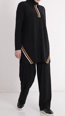 - Gömlek Yaka Eteği Renkli Çizgili Takım Siyah/4150
