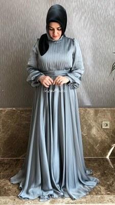 - Janjan Kumaş Elbise Gri/22192