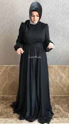 - Janjan Kumaş Elbise Siyah/22192