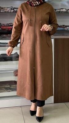 - Kapşonlu ve İp Detaylı Süet Kap Camel/6418