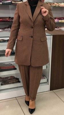 - Kareli Ceket Pantolon Takım Taba/7078