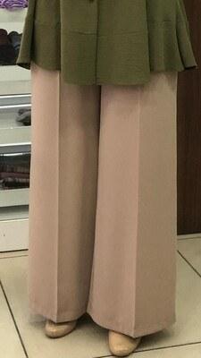 - Kemerli Bol Paça Pantolon Taş/2105
