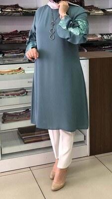 - Kolları Fırfırlı ve Pul Payet Detaylı Tunik Mint Yeşili /2078