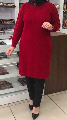 - Kolu Bağcıklı Triko Tunik Kırmızı / 1496
