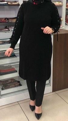 - Kolu Bağcıklı Triko Tunik Siyah/ 1496