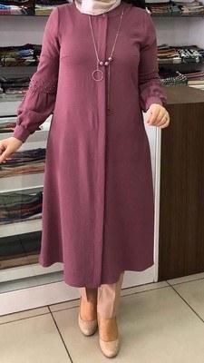 - Kolu İnci Detaylı Kolyeli Tunik Lila/5997