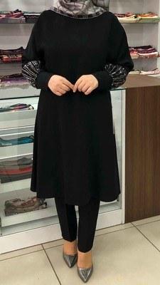 - Kolu Pul Payetli Tunik Siyah/5935