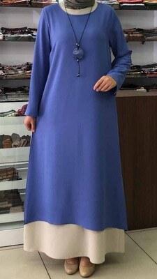 - Kolye Detaylı Yırtmaçlı İki Parça Elbise İndigo/657
