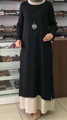 - Kolye Detaylı Yırtmaçlı İki Parça Elbise Siyah/657
