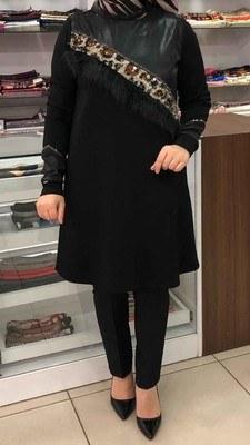 - Leopar Desenli Tüy Detaylı Tunik Siyah/4163
