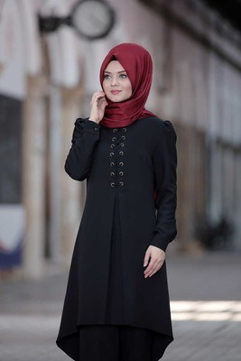 - Önü Bağcıklı Tunik Takım Siyah/1002