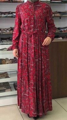 - Önü Düğmeli Desenli Elbise Kırmızı / 12002