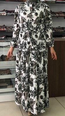 - Önü Düğmeli Desenli Elbise Beyaz / 12002