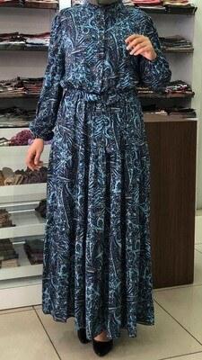 - Önü Düğmeli Desenli Elbise Mavi / 12002