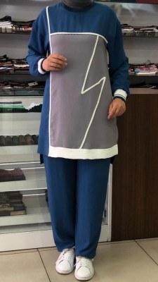 - Önü Parçalı Şerit Detaylı Pantolonlu Takım İndigo /4732