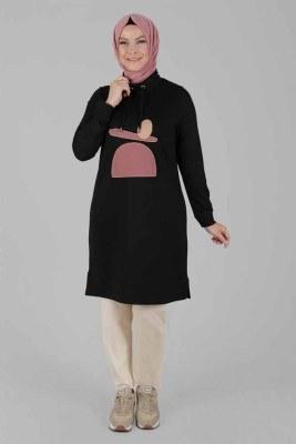 - Önü Renkli Kumaş Detaylı Tunik Siyah/20066