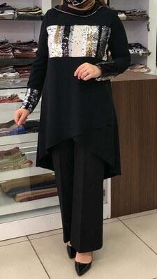 SETRMS - Renkli Pul Payet Detaylı Tunik Siyah/4241