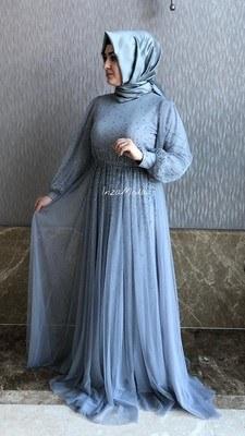 - Taş Detaylı Abiye Elbise Gri/G-349