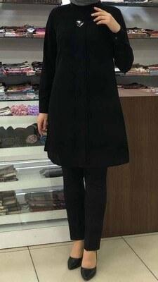 - Yakası Broş Detaylı Tunik Siyah/1730