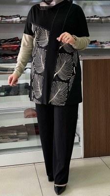 - Yaprak Detaylı Pantolonlu Takım Siyah / 4202